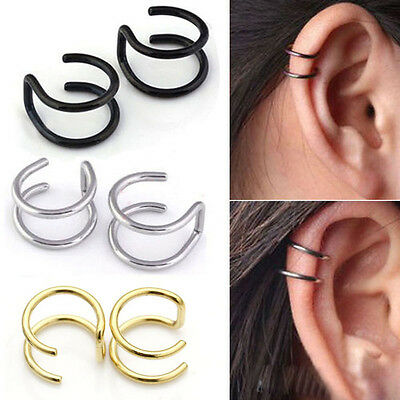 2 Color 1pair Non-Piercing Magnet Ear, Nose Stud Fake Earrings Various shape~-