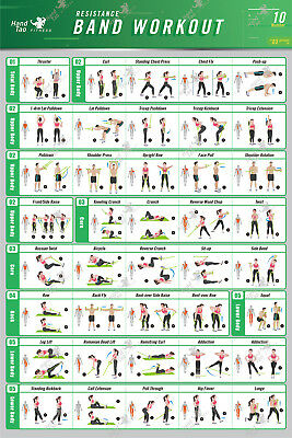 Resistance Band/Tube Exercise Poster BodyBuilding Guide Fitness Gym Chart