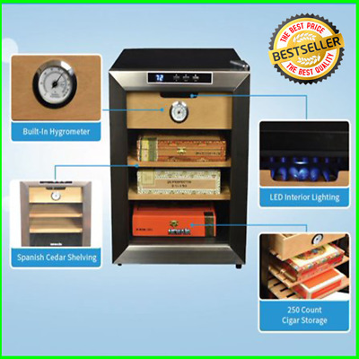 Cigar Cooler Humidor Holds Over 250cigars Compact Stylish Unit Operates Silently