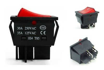 Rocker Switch 30A / 25A 240V Mains Red ON / OFF Double Pole 4 Pin DPST x1