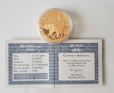 Gold 1oz .9999 - 1996 South Africa Natura - certificate of auth - tough to find!