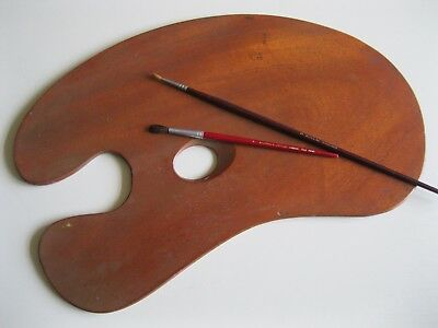 Vintage Traditional Wooden Mahogany Artists Palette 395 Cm X 24