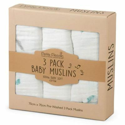 3 x Petite Piccolo Super-Soft Baby Muslins with Floating Feather Design, 70x70cm