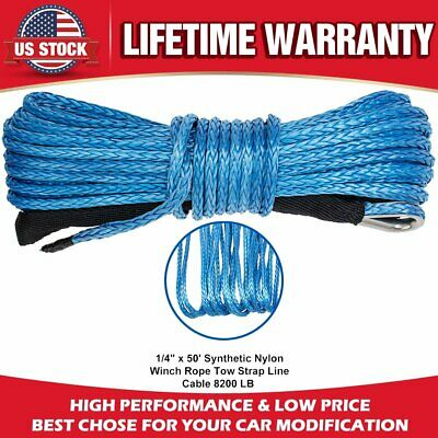"""1/4"""" x 50'  8200LBs Synthetic Winch Line Cable Rope w/Sheath For ATV UTV (Blue)"""