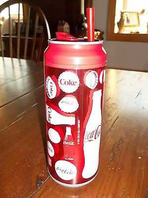 "Coca Cola Tin and Plastic 7 1/2"" Tall with Straw NEW Drinking Can"