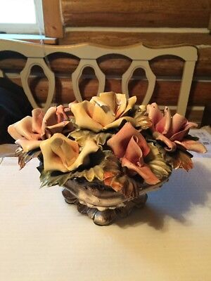 CAPODIMONTE Larger Vintage Centerpiece Flower Basket MADE IN ITALY Multi-Color