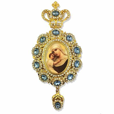 Madonna and Child Jeweled With Blue and White Crystals Icon Pendant With Crown
