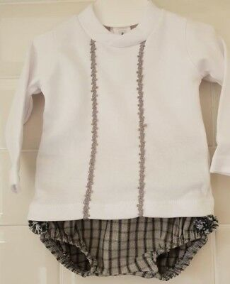 Gorgeous Spanish Baby Boy Grey Jam Pants and White Top Set / Outfit
