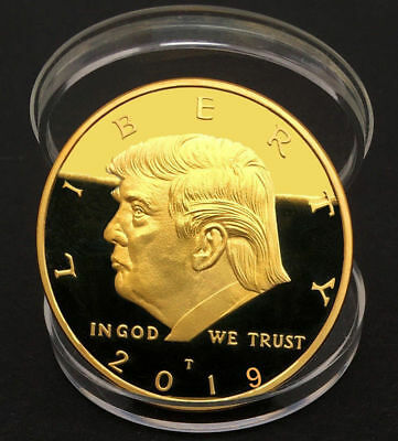 US New President Donald Trump Inaugural Golden  Commemorative Novelty Coin 1PC