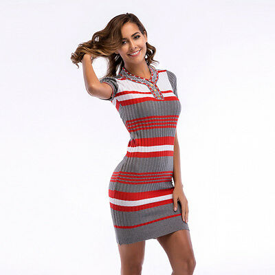 Women's Fashion Striped Pattern Short Sleeve V-neck Slim Waist Sweater Dress