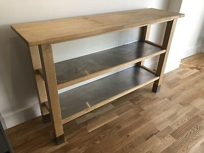 Ikea Stenstorp Kitchen Island Worktop Freestanding  Solid Pine / Stainless  Steel