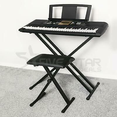 Folding Double Braced X Frame Adjustable Keyboard Music Stand W/ Straps Electric