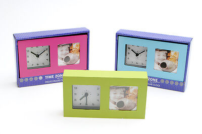 Fun Blue Desk Clock Picture Frame Gift Set In Blue Mothers Day