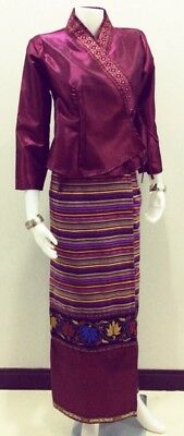 Thai Lao Traditional dress cloth women for fancy cosplay - Red Wine color
