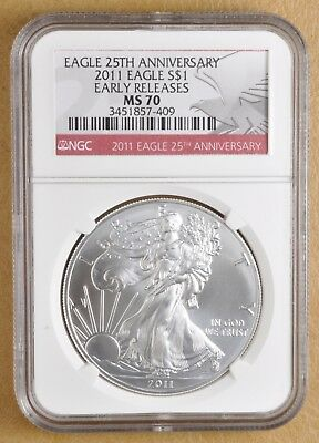 2011 American Eagle Silver Dollar Early Releases MS70 NGC