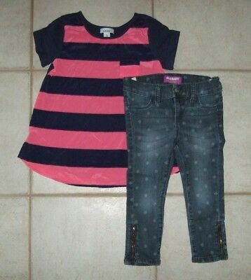 Girls Old Navy School Outfit Size XS/5 Flare Tee & Denim Capri with Side Zippers