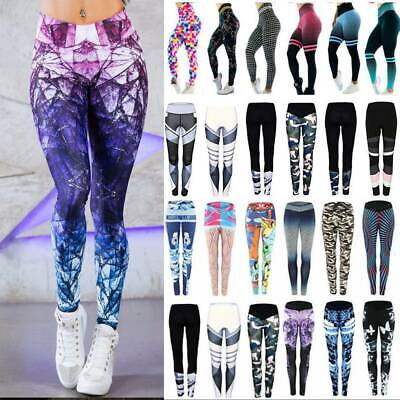 Women Yoga Pants Fitness Leggings Running Gym Workout Sports Trousers UK OP