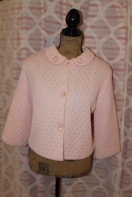 Vintage Nanette Powder Pink Quilted Bed Jacket Sz. S