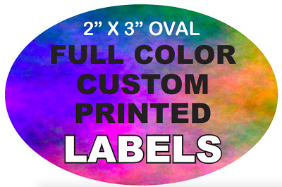 """Custom Printed Labels, Full Color 2"""" x 3"""" Oval Stickers, High Quality, on Rolls"""
