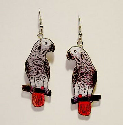 African Grey Gray Parrot Earrings Handcrafted Plastic Made in USA