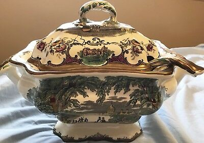 Masons / Leeds LG Tureen / Ladle Platter Thick Copper Edge England As Is