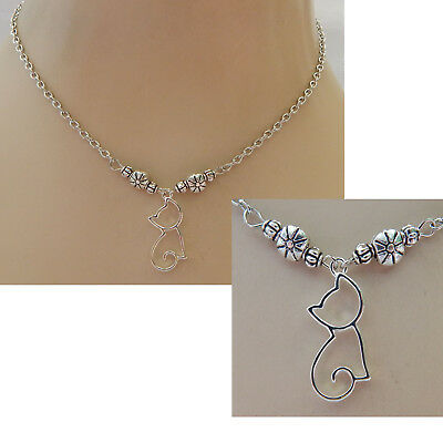 Cat Necklace Silver Pendant Silhouette Jewelry Handmade NEW Chain Adjustable