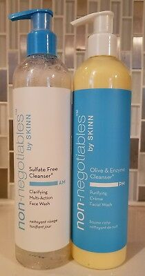 Skinn Super Size Sulfate Free AM & Olive & Enzyme PM Pump Cleanser Factory Seal
