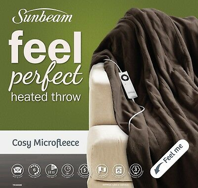 Sunbeam TR3000B Feel Perfect® Cosy Microfleece Heated Throw - Chocolate Brown