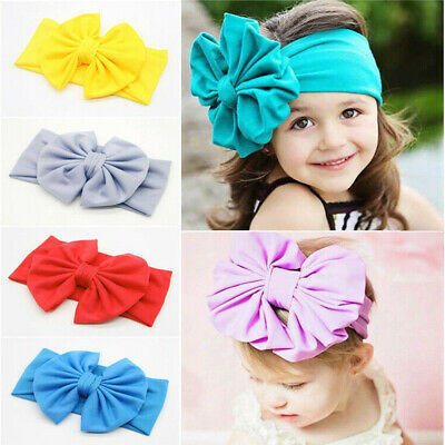 Girls Toddler Kids Baby Bow Cute Hairband Headband Stretch Turban Knot Head Wrap