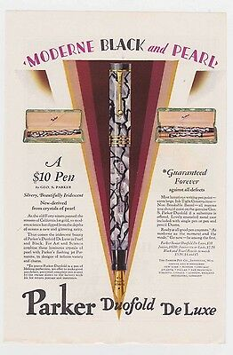 Beautiful 1928 Art Deco Moderne Parker Pen Black and Pearl Fountain color ad