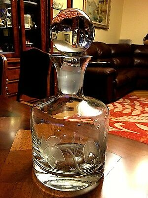 Stunning Etched flowers Crystal Decanter with Stopper.