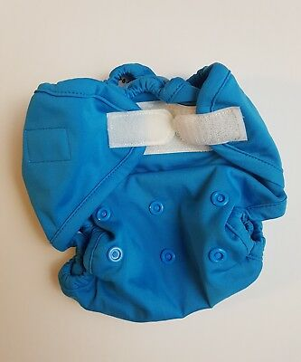 Rumparooz Blue One Size Cloth Diaper Cover Aplix Closures & Snap Sizing (J)