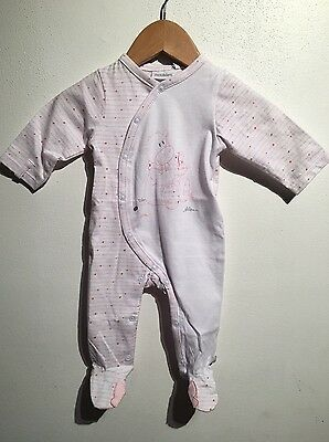 Noukies Baby Pink White Striped Layette Footie - Sz 3M, 9M, 12M, 18M NEW