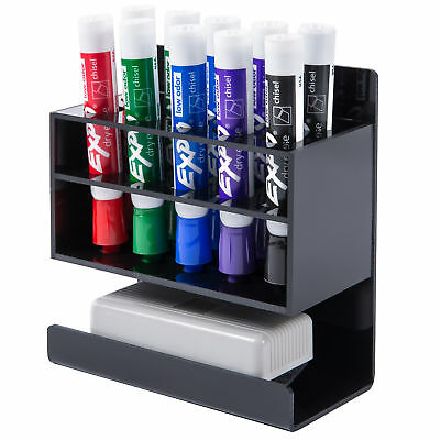 2-Tier Black Acrylic 10-Slot Dry Erase Whiteboard Marker and Eraser Holder Stand