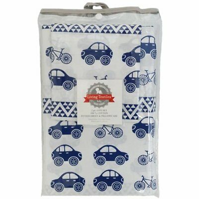 Living Textiles 2 Piece Cot Sheet Set Fitted Sheet & Pillowcase - Car Navy