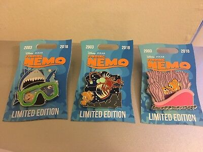 Disney PIXAR Pin Finding Nemo Celebrating 15 years LE 2000 Set of 3 Pins