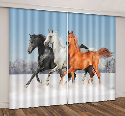 3D Pentium Horse Blockout Window Curtains Drapes for Living Room Bedroom 2panel