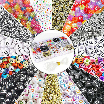 100pc Lots Mini Acrylic Mixed Alphabet Letter Coin Round Flat Spacer Beads 4x7mm
