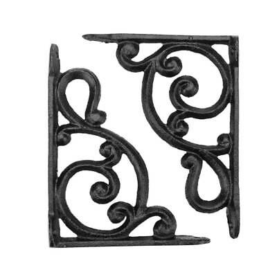 Pair of Cast Iron Classic Victorian Scroll Shelf Brackets Antique Style