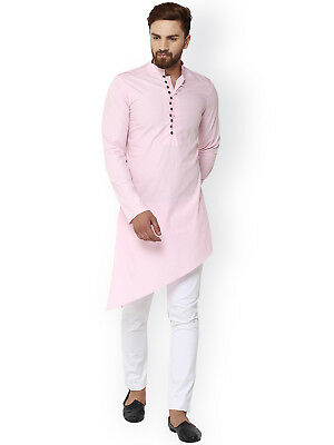 Indian 100%Cotton Solid Men's Pink Color Kurta Pajama Plus Size Man Shirt S 7XL