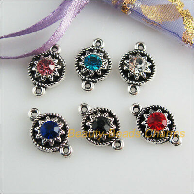 12Pcs Tibetan Silver Tone Mixed Crystal Flower Charms Connectors 9x14mm