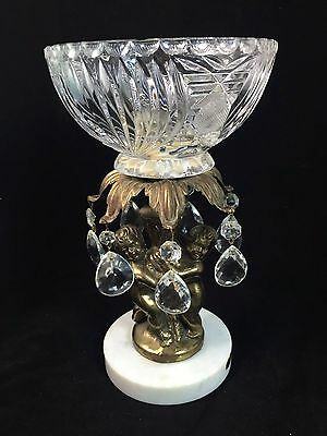 Cherub Angle Glass Bowl Dish Compote Crystal Teardrop Prism Marble Base Italy