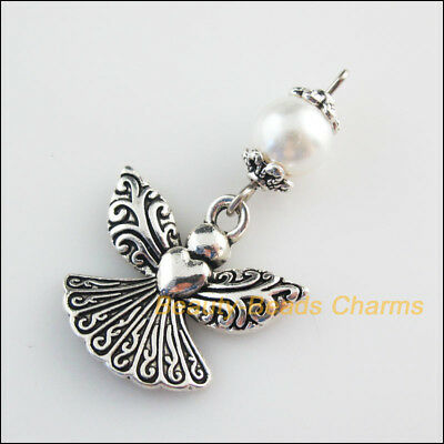 4Pcs Tibetan Silver Tone White Glass Round Beads Angel Charms Pendants