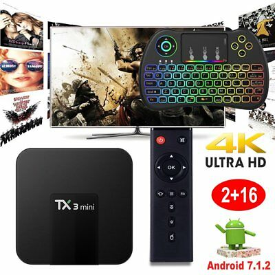 2+16GB TX3mini Android 7.1.2 Quad core 4K Media TV BOX WIFI+Backlit Keyboard H9