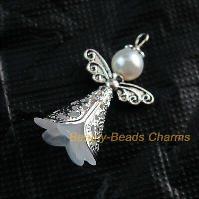 4Pcs White Acrylic Angel Wings Tibetan Silver Tone Charms Pendants 22x37mm