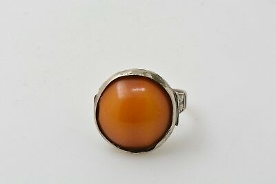 Islamic Ottoman silver and amber ring 18th century AD Size 7 1/2