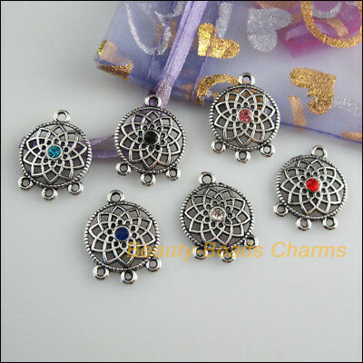 6Pcs Tibetan Silver Tone Mixed Crystal Round Flower Charms Connectors 18x24.5mm