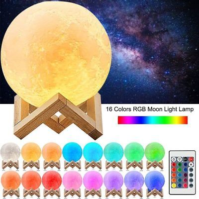 Dimmable 3D Magical Moon Lamp USB LED Night Light Moonlight Touch Sensor Lamps
