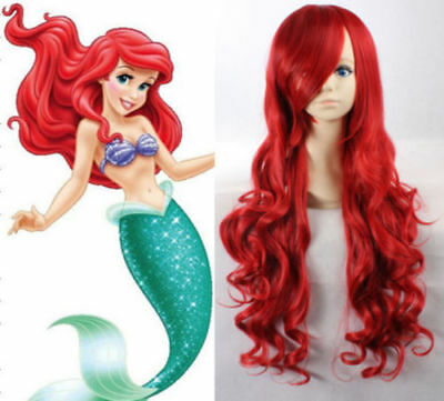 Red Princess Little Mermaid Ariel Red Wig Long Curly Adult Children Wigs Lot UK