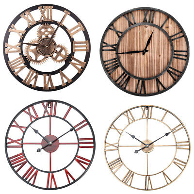 Vintage Wooden Wall Clock Rustic Home Office Outdoor Antique Watches Decor SR